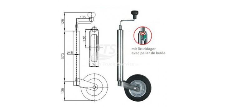 Supporto con ruota Ø 48 millimetri per 200 kg