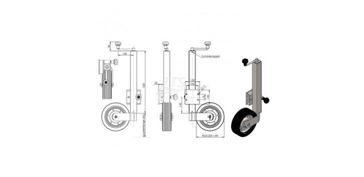 VKT ruota 60 millimetri per 500 kg piegato a 90 °