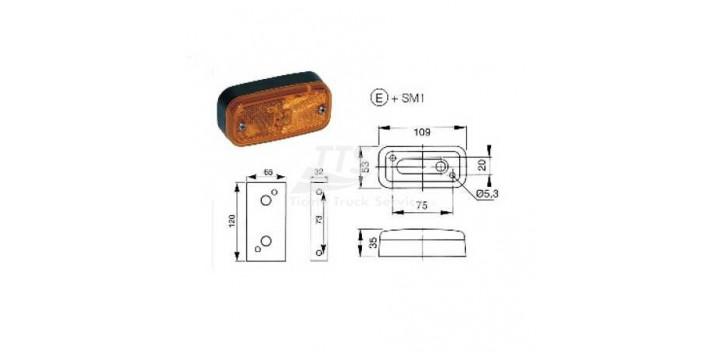 Indicatore laterale con luce 12/24V universale